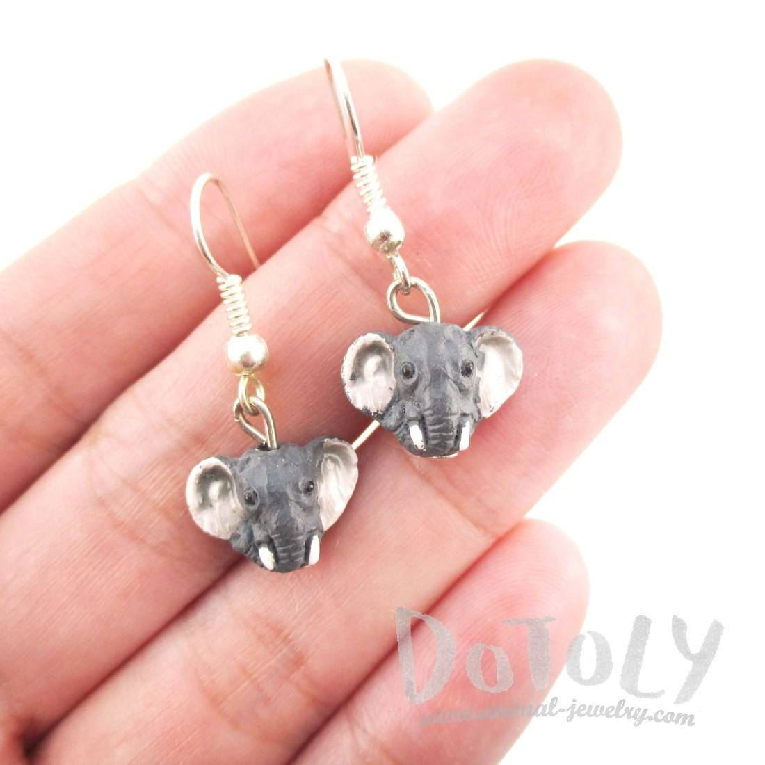 3D Elephant Face Shaped Porcelain Ceramic Animal Dangle Earrings