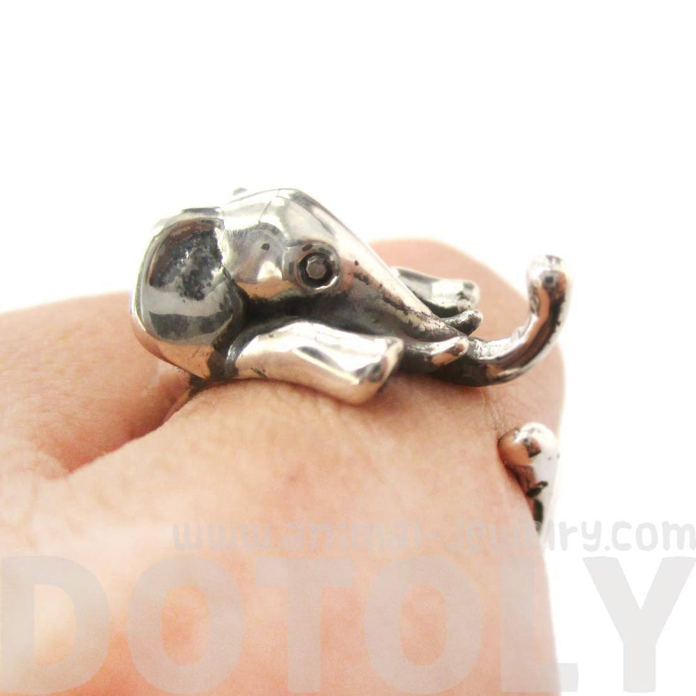 Realistic Elephant Shaped Animal Wrap Around Ring 925 Sterling Silver