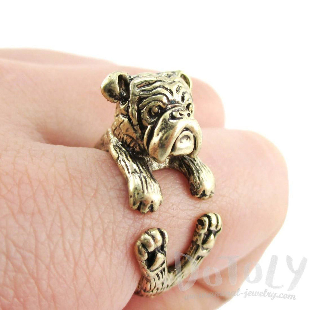 Realistic English Bulldog Shaped Animal Ring in Brass