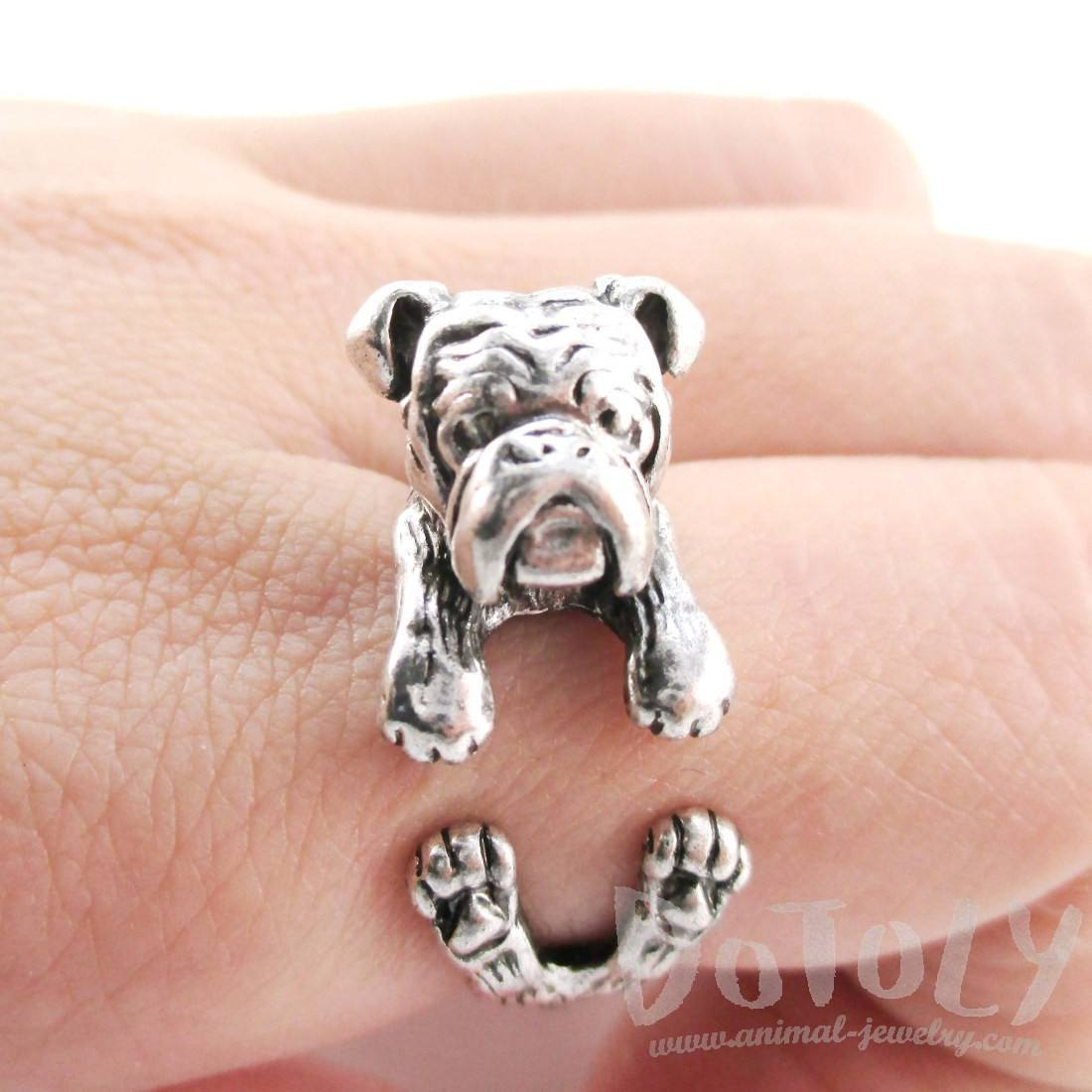 Realistic English Bulldog Shaped Animal Ring in Silver