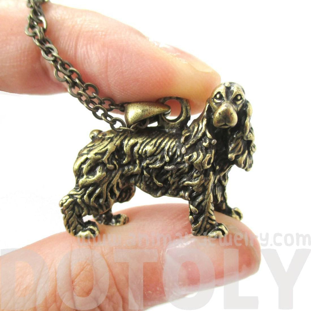 Realistic English Cocker Spaniel Dog Shaped Pendant Necklace in Brass