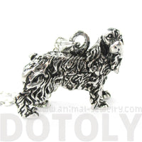 English Cocker Spaniel Shaped Animal Pendant Necklace in Shiny Silver