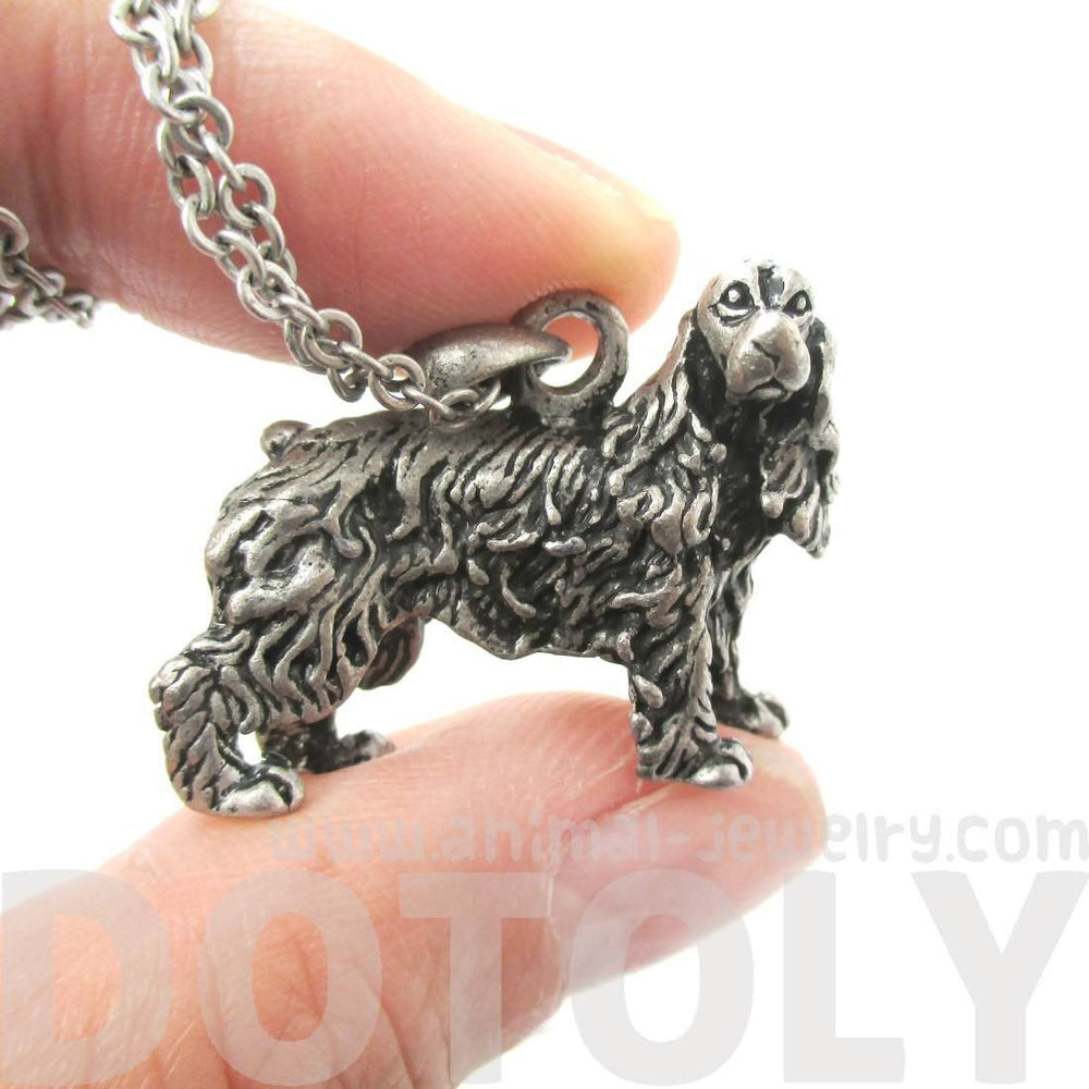 Realistic English Cocker Spaniel Dog Shaped Pendant Necklace in Silver