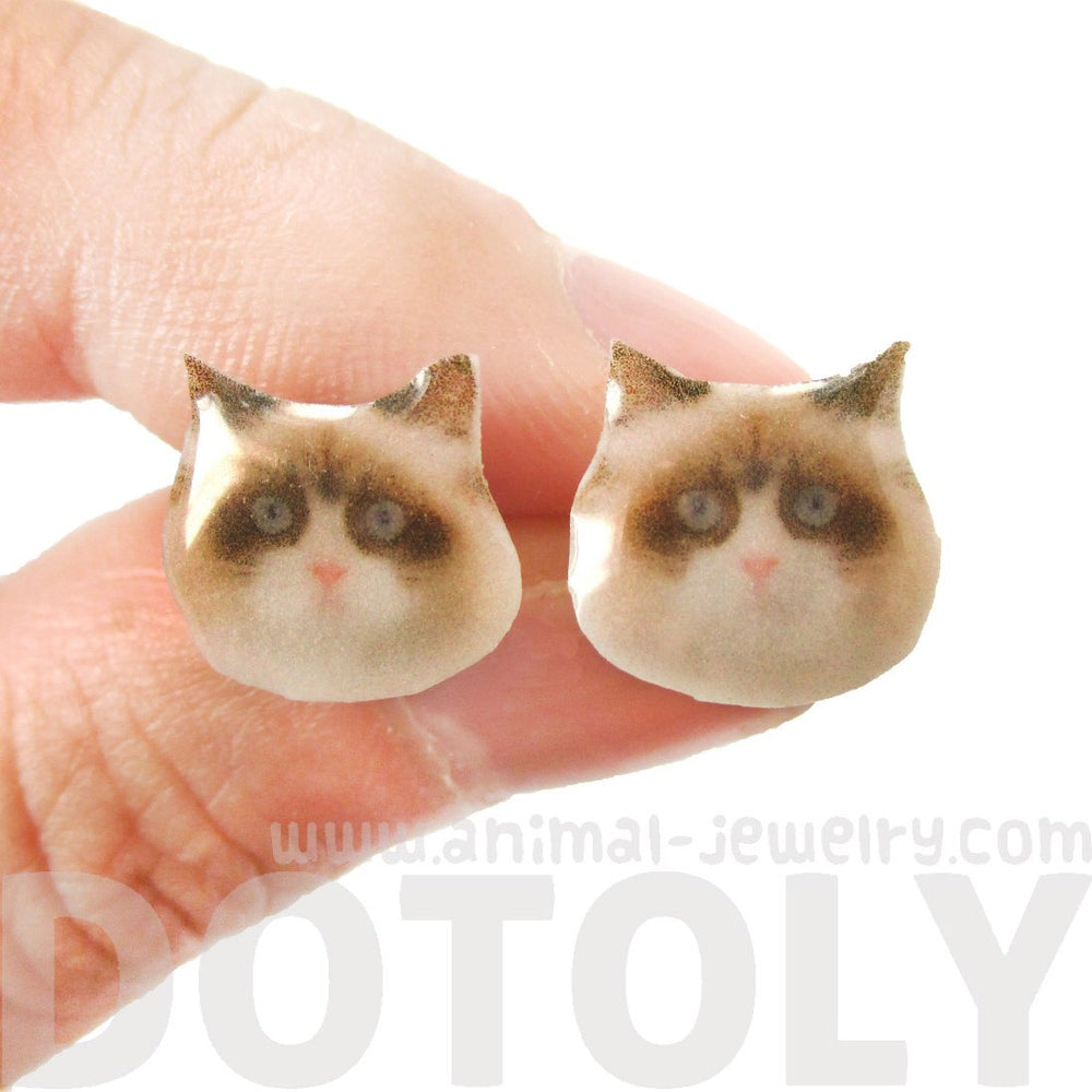 Realistic Exotic Shorthair Kitty Cat Face Shaped Animal Resin Stud Earrings | DOTOLY