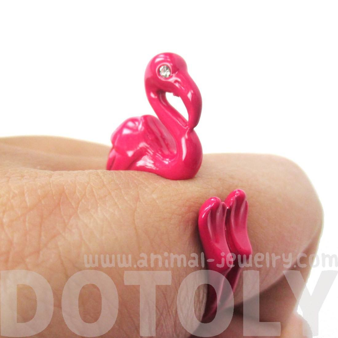 Realistic Flamingo Bird Shaped Animal Wrap Around Ring in Bright Pink