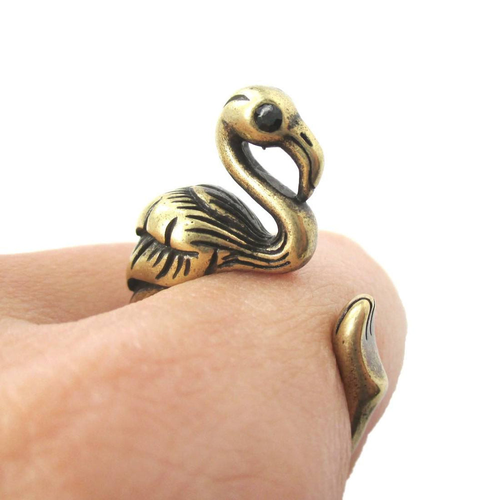 Realistic Flamingo Shaped Animal Wrap Ring in Silver | US Size 6 to 9