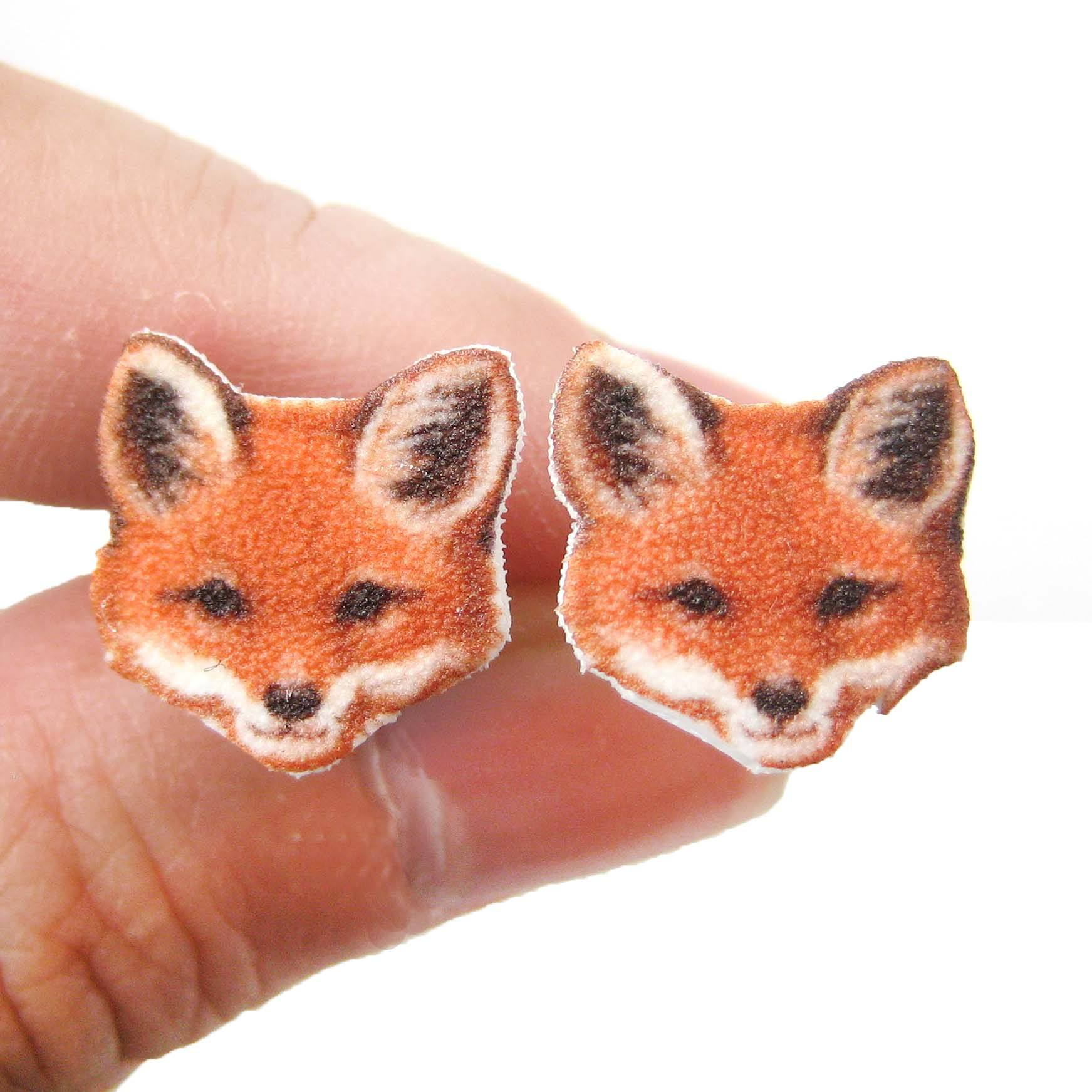 Realistic Fox Animal Head Shaped Stud Earrings | Handmade