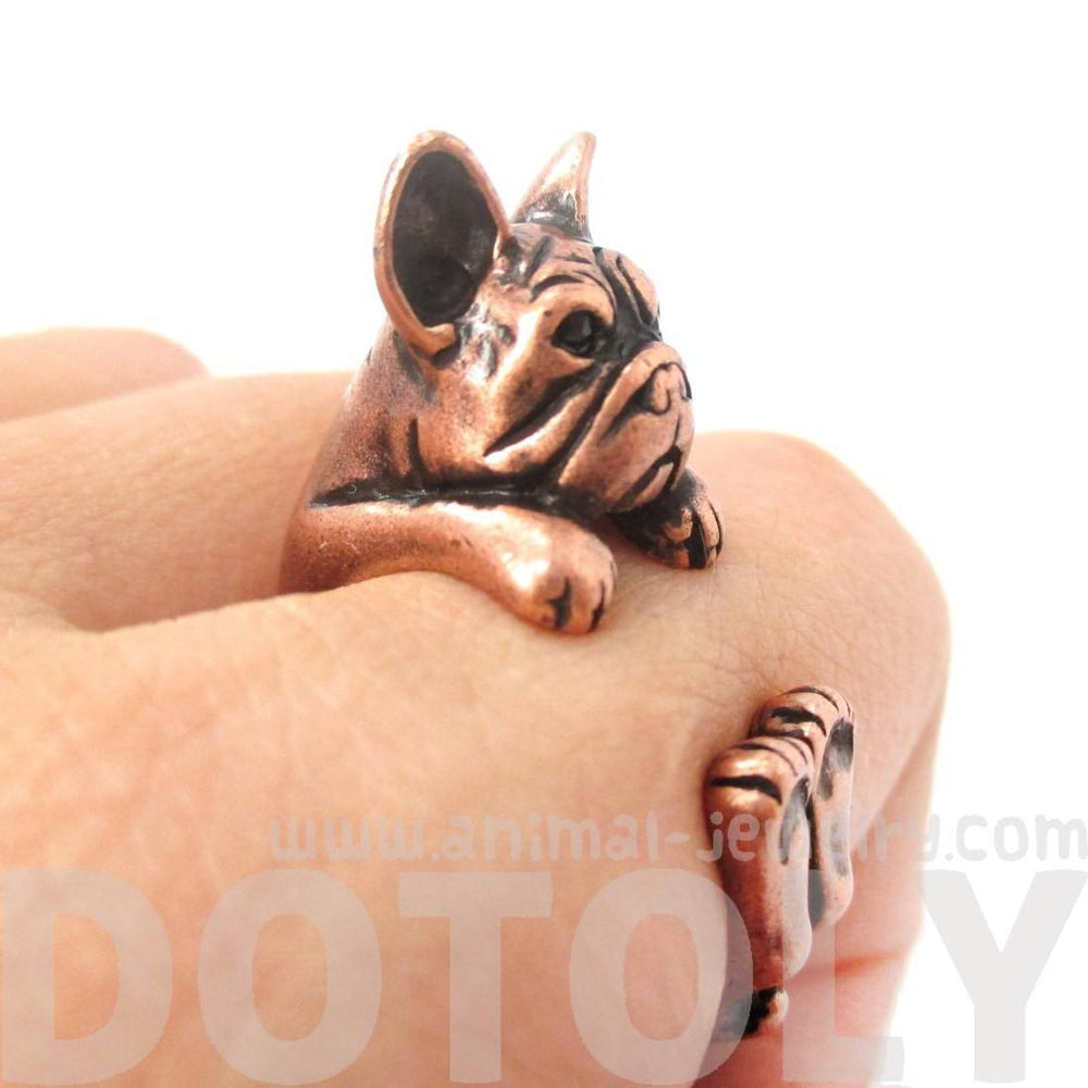 Realistic French Bulldog Dog Shaped Animal Wrap Around Ring in Copper