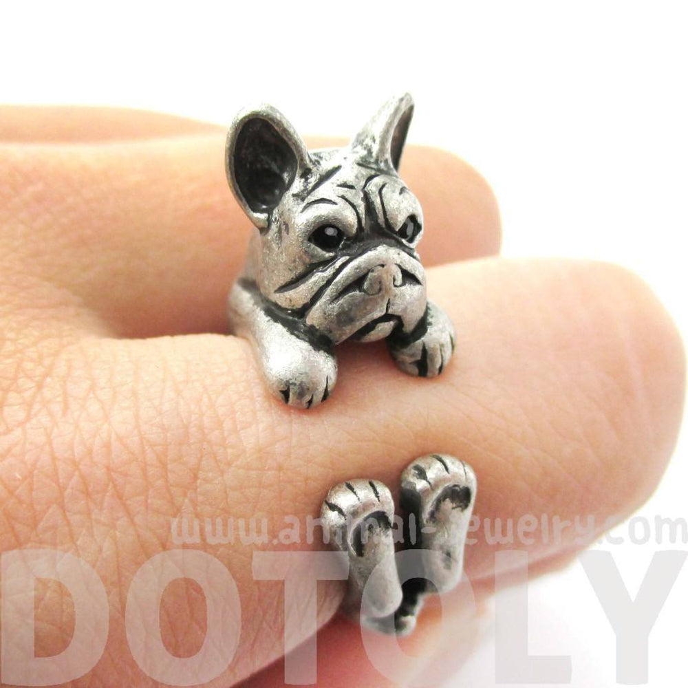 Realistic French Bulldog Dog Shaped Animal Wrap Around Ring in Silver