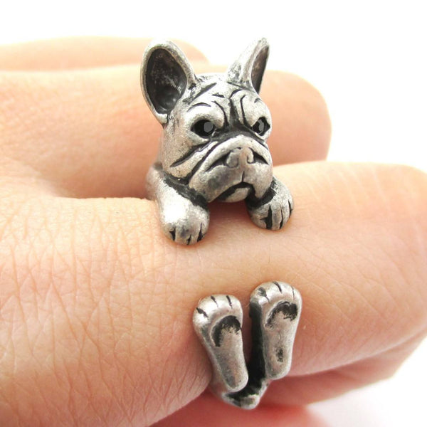 Realistic French Bulldog Dog Shaped Animal Wrap Around Ring in Silver | US Sizes 4 to 8.5 | DOTOLY