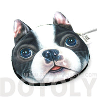 Realistic French Bulldog Frenchie Face Shaped Soft Fabric Coin Purse