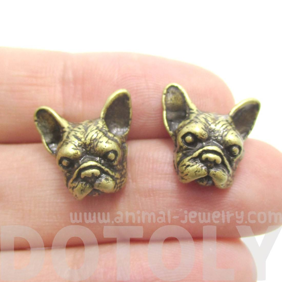 French Bulldog Dog Face Shaped Stud Earrings in Brass
