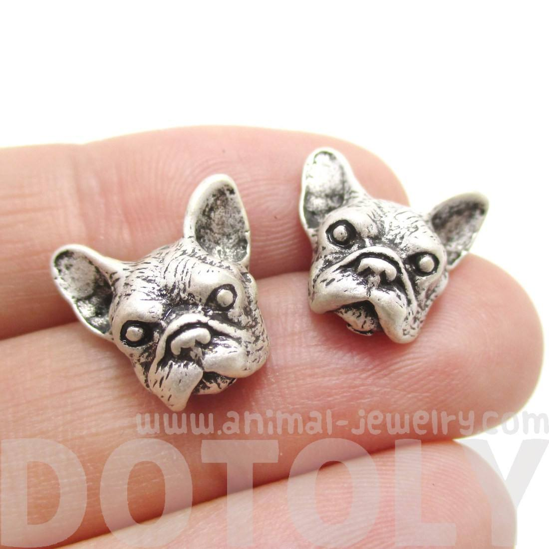 French Bulldog Dog Face Shaped Stud Earrings in Silver