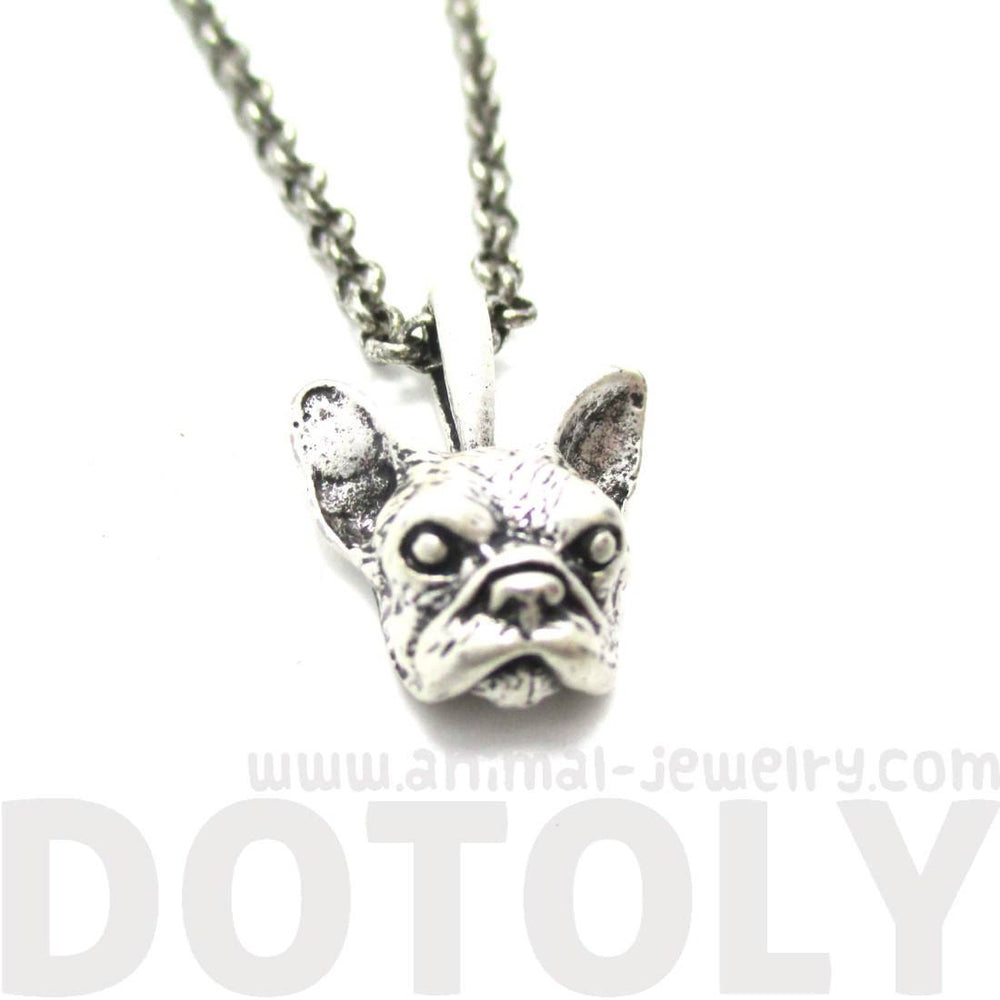 French Bulldog Puppy Dog Head Shaped Necklace in Silver