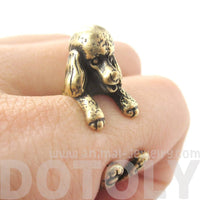 Realistic French Poodle Shaped Animal Wrap Ring in Brass