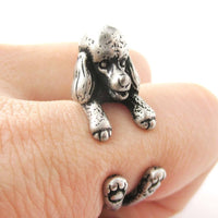 Realistic French Poodle Shaped Animal Wrap Ring in Silver