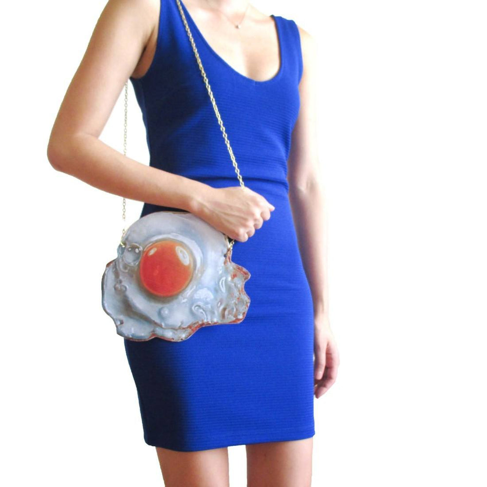 Realistic Fried Egg Shaped Food Themed Vinyl Cross Body Bag | DOTOLY | DOTOLY