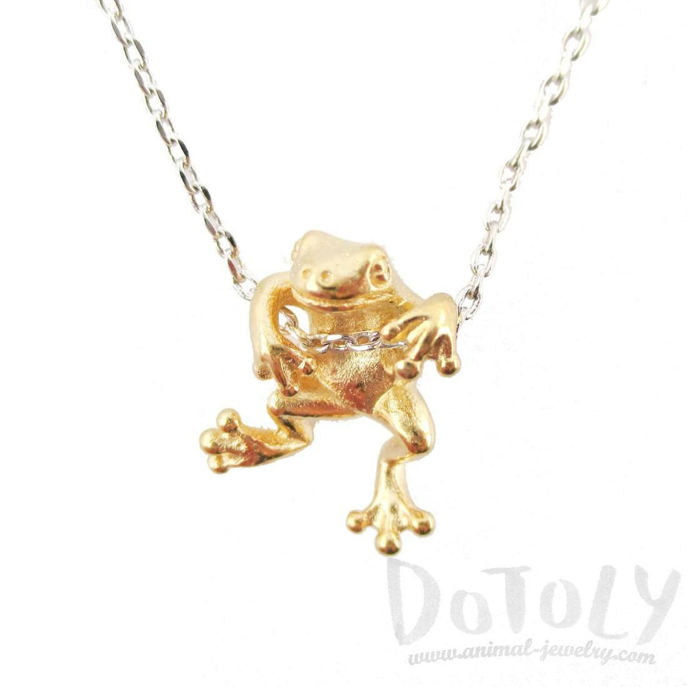 Realistic Frog Pendant Dangling on a Chain Necklace in Gold on Silver
