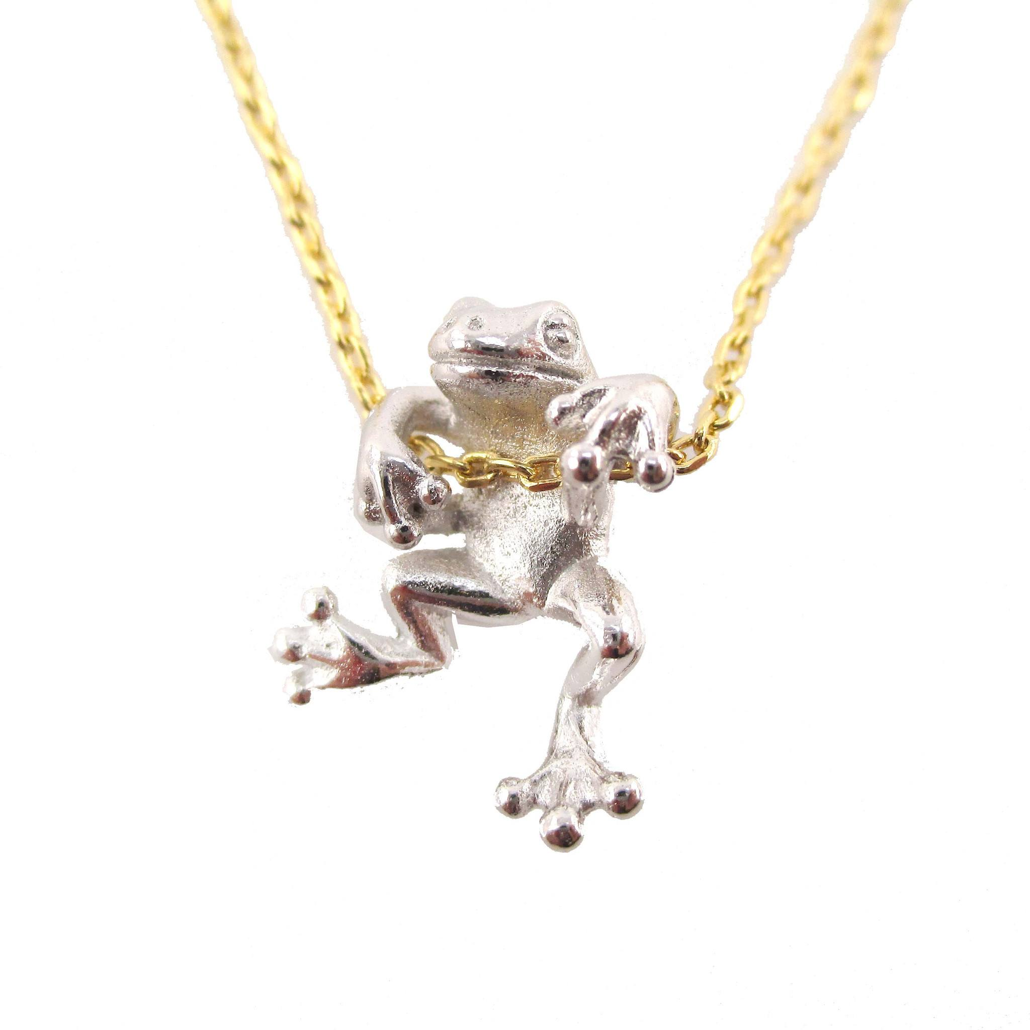 Realistic Frog Pendant Dangling on a Chain Necklace in Silver on Gold