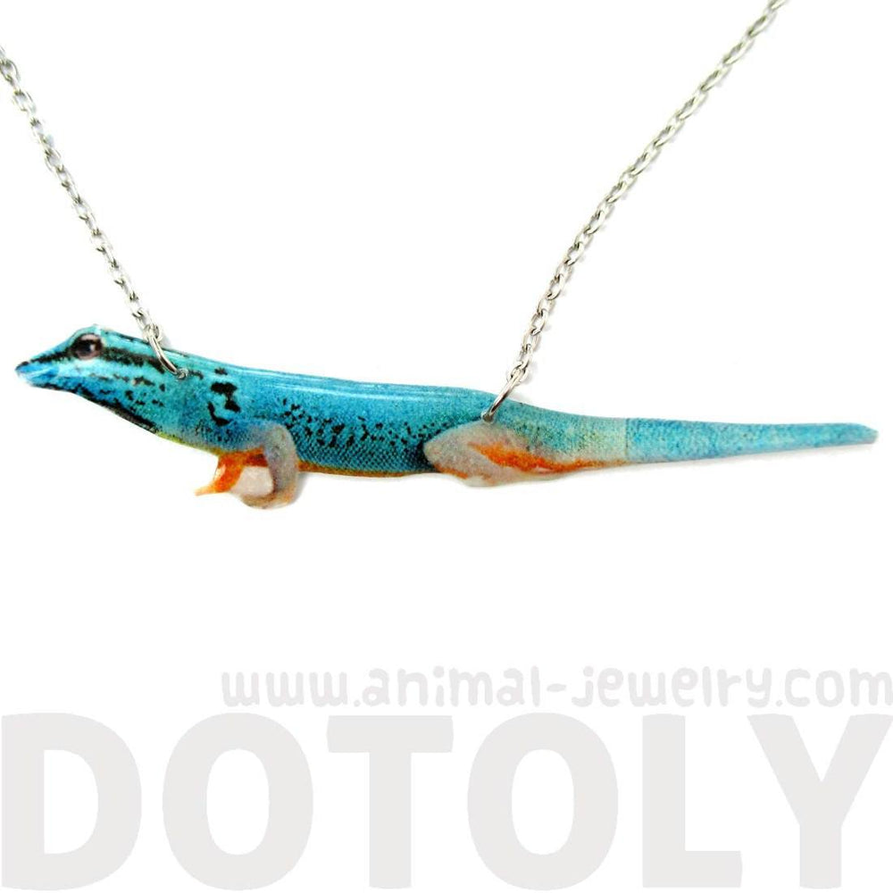 Realistic Turquoise Blue Gecko Lizard Animal Shaped Pendant Necklace