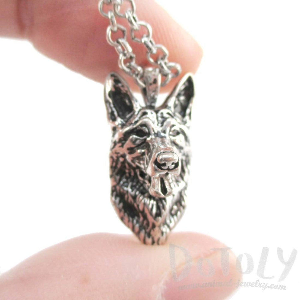 Realistic German Shepherd Face Shaped Pendant Necklace