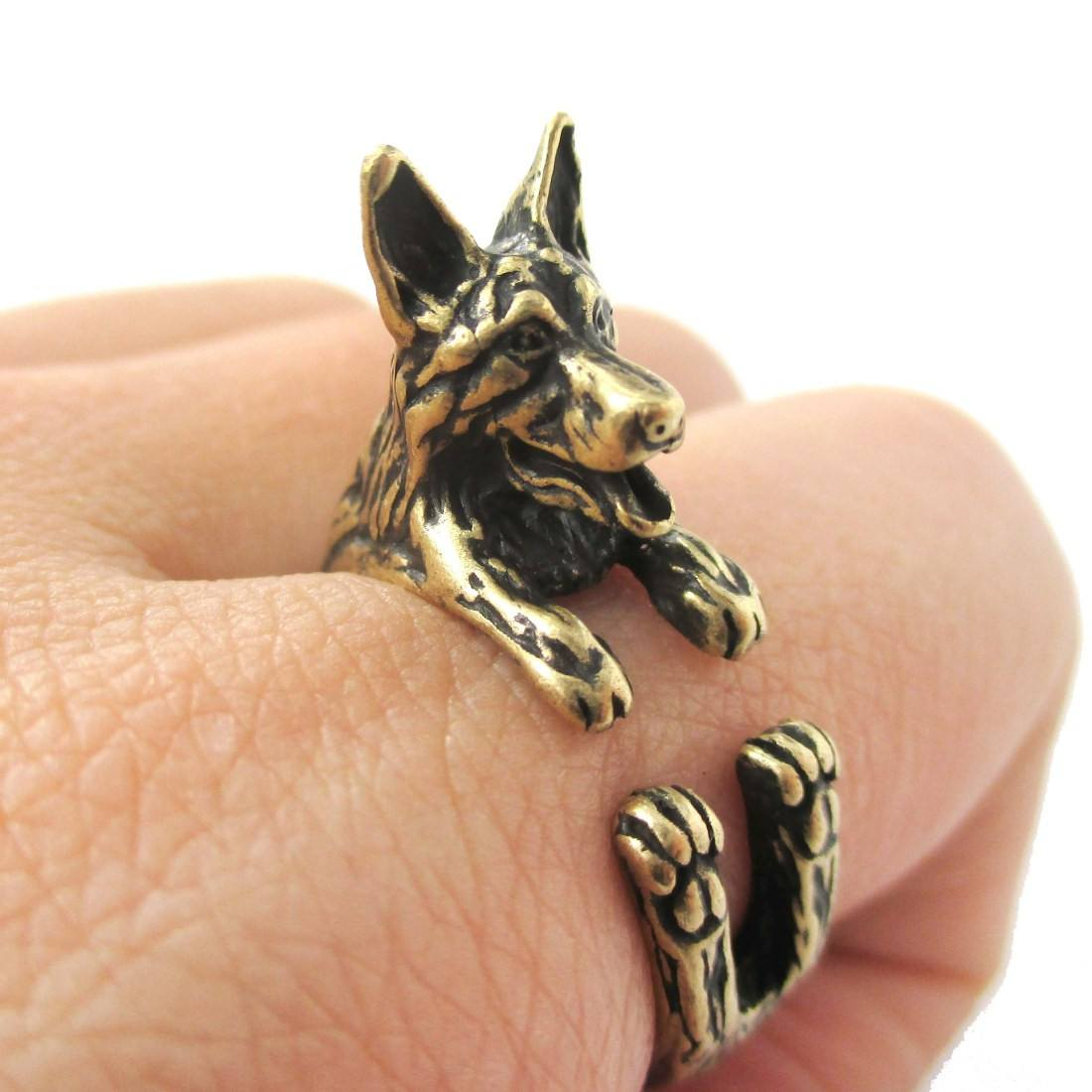 Realistic German Shepherd Shaped Animal Ring in Brass
