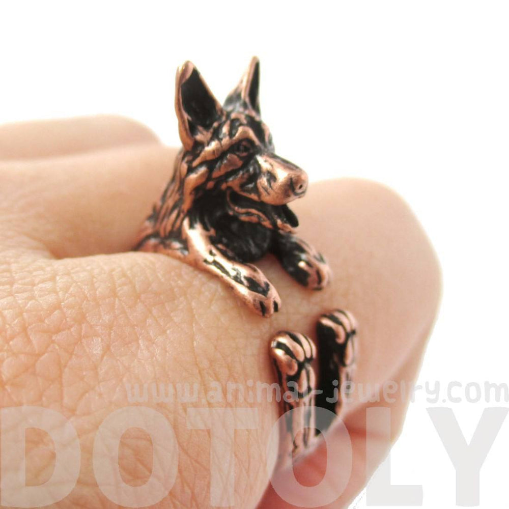 Realistic German Shepherd Shaped Animal Ring in Copper