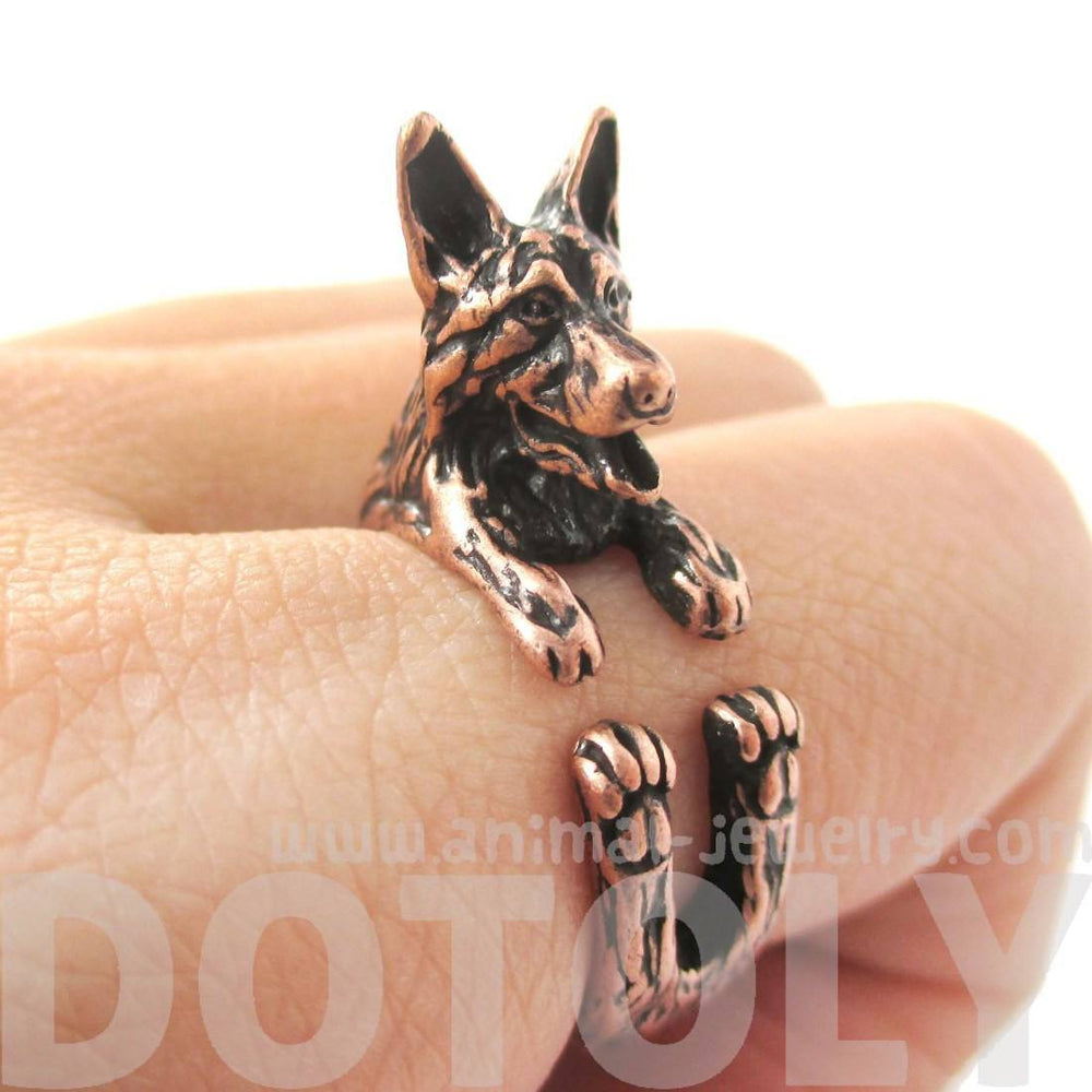 Realistic German Shepherd Shaped Animal Wrap Ring in Copper | Sizes 4 to 8.5 | DOTOLY