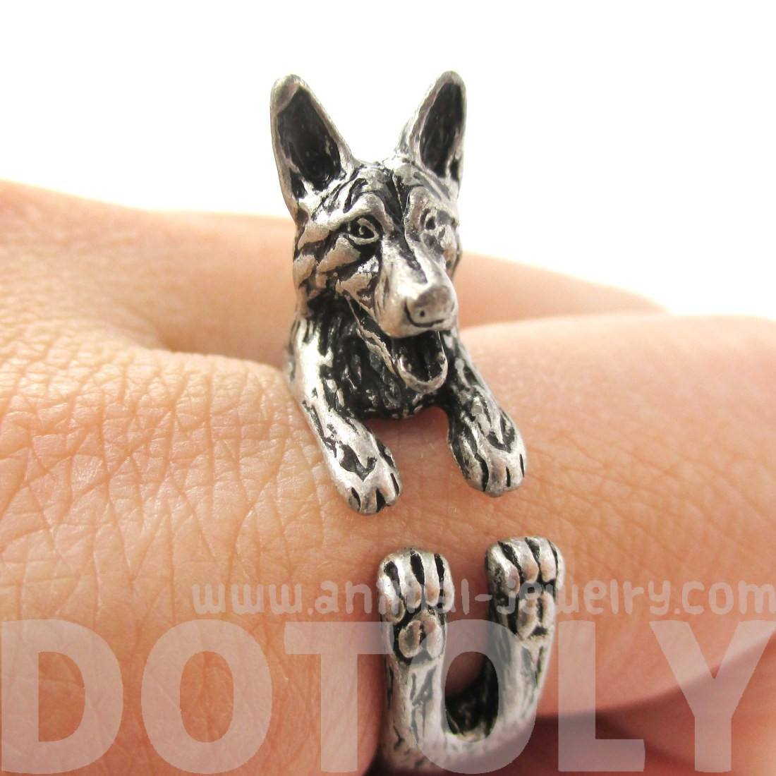 Realistic German Shepherd Shaped Animal Ring in Silver