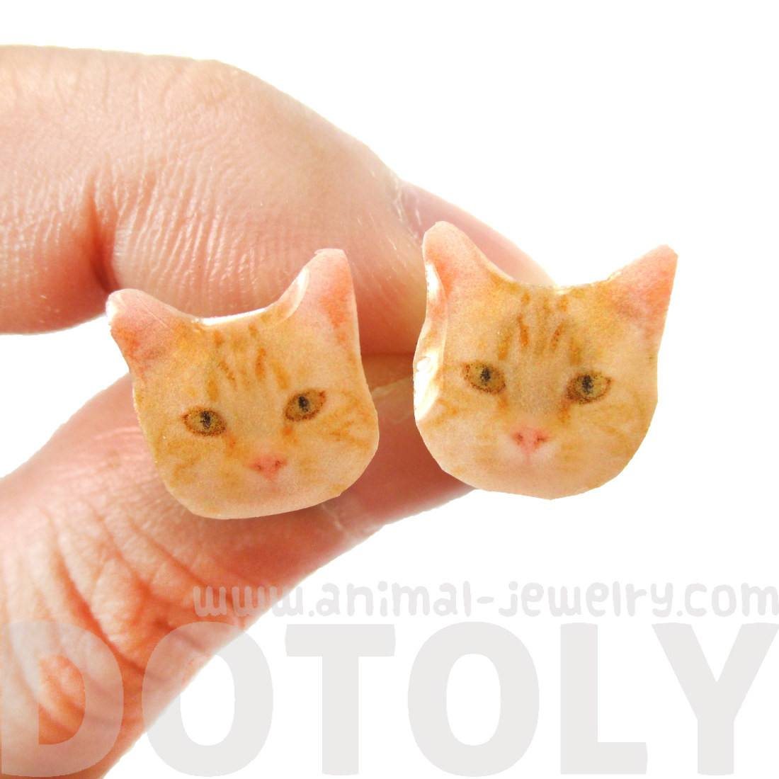 Realistic Ginger Kitty Cat Face Shaped Animal Resin Stud Earrings
