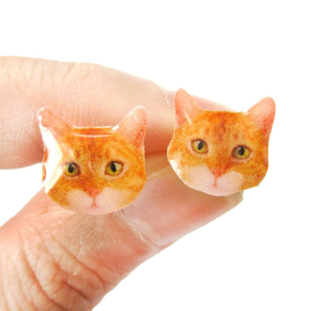 Realistic Ginger Tabby Kitty Cat Face Shape Animal Resin Stud Earrings