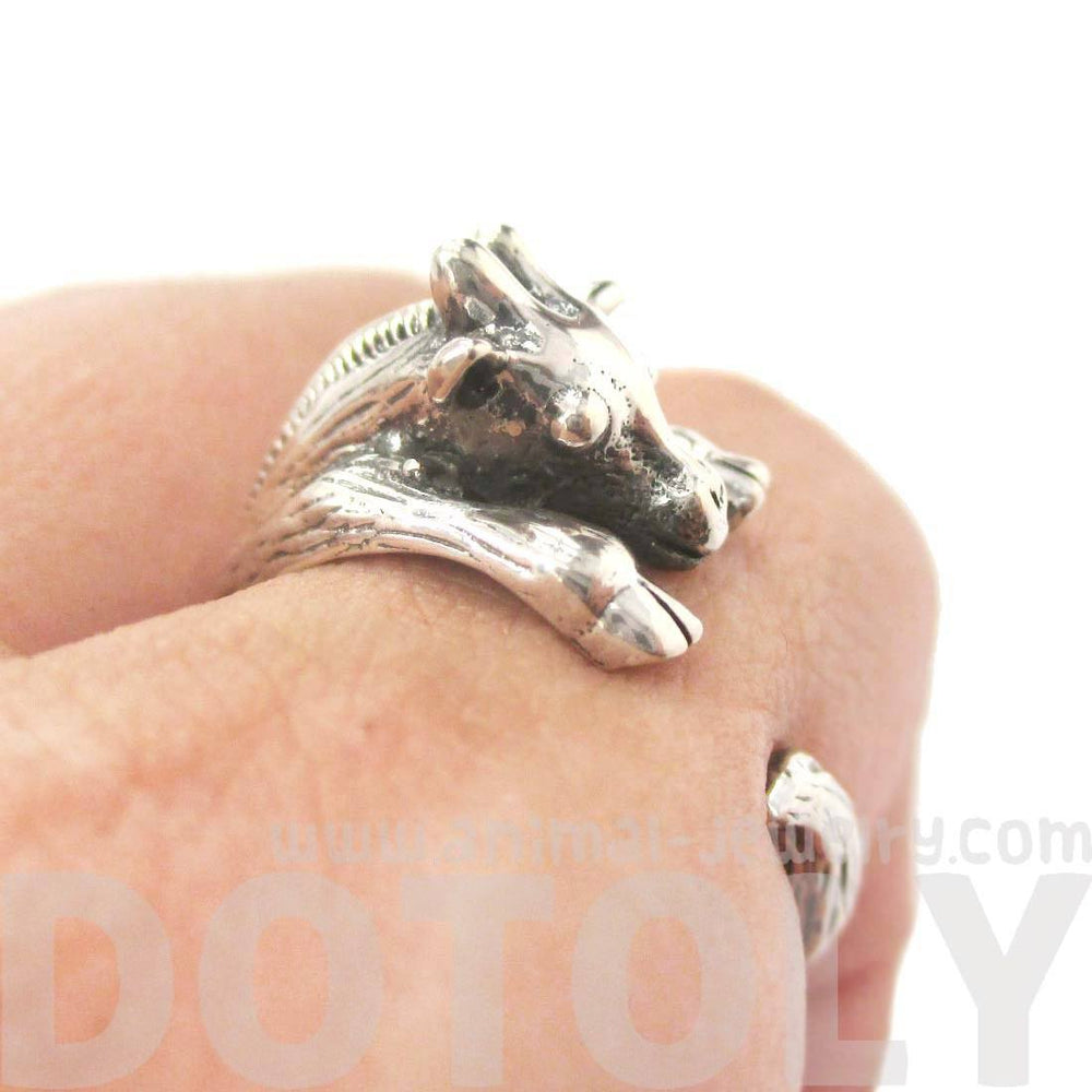 Realistic Giraffe Shaped Animal Wrap Around Ring in Sterling Silver