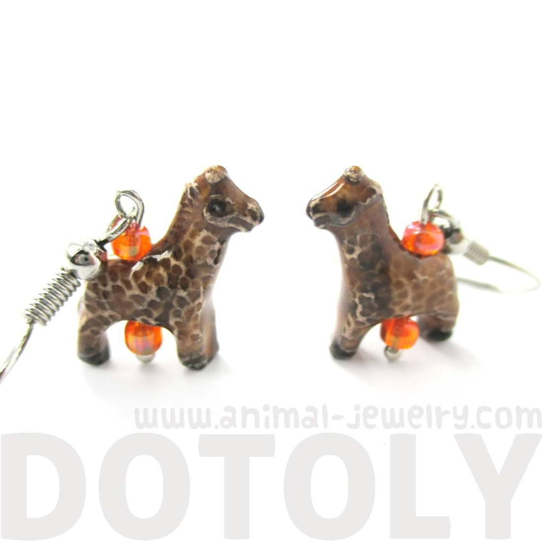 Realistic Giraffe Shaped Porcelain Ceramic Animal Dangle Earrings