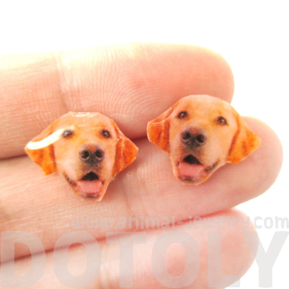 Realistic Golden Retriever Head Shaped Animal Resin Stud Earrings | Made To Order | Handmade | DOTOLY