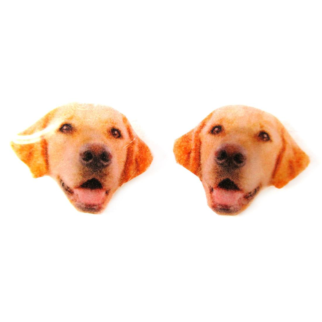 Realistic Golden Retriever Dog Head Shaped Animal Resin Stud Earrings