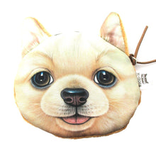 Realistic Golden Retriever Puppy Dog Face Shape Soft Fabric Coin Purse