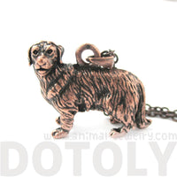Realistic Golden Retriever Puppy Dog Shaped Pendant Necklace in Copper