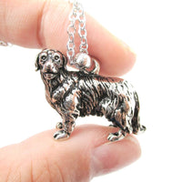 Realistic Golden Retriever Dog Shaped Pendant Necklace in Shiny Silver