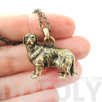 Golden Retriever Puppy Dog Shaped Animal Pendant Necklace in Brass