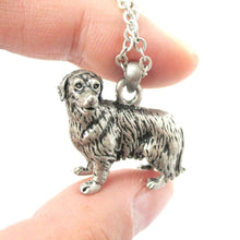 Realistic Golden Retriever Puppy Dog Shaped Pendant Necklace in Silver