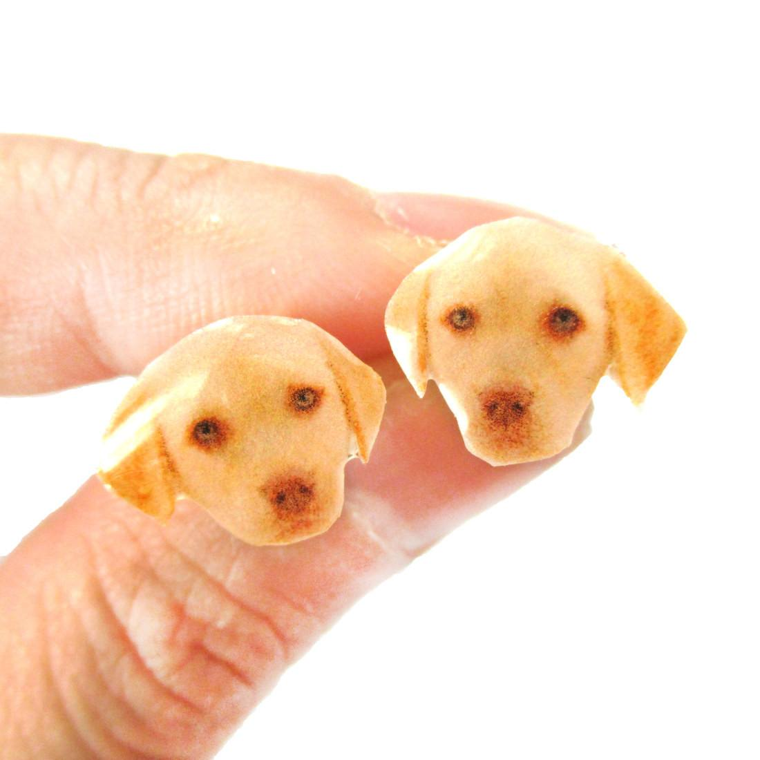 Realistic Golden Retriever Puppy Head Animal Shape Resin Stud Earrings
