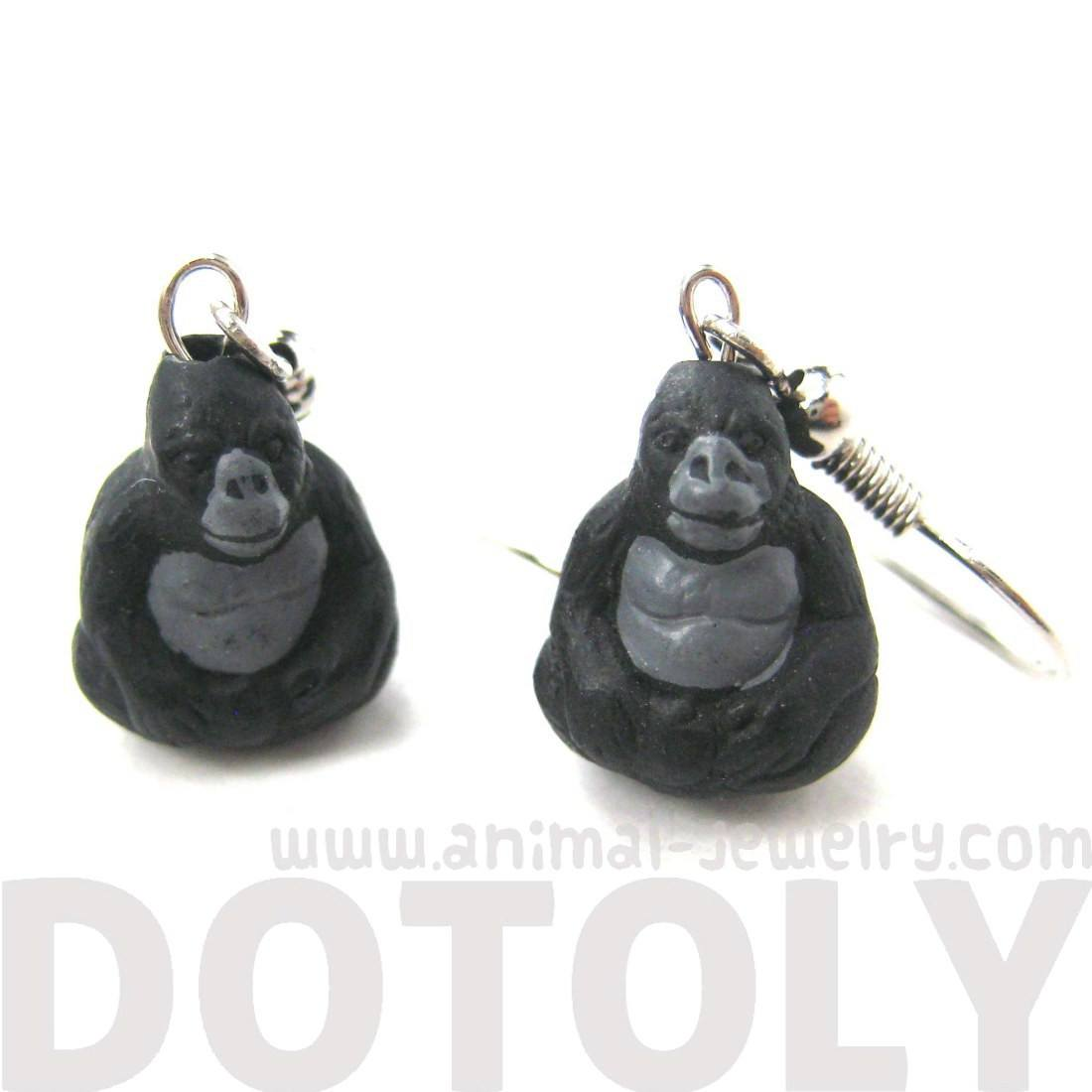 Realistic Gorilla Shaped Porcelain Ceramic Animal Dangle Earrings