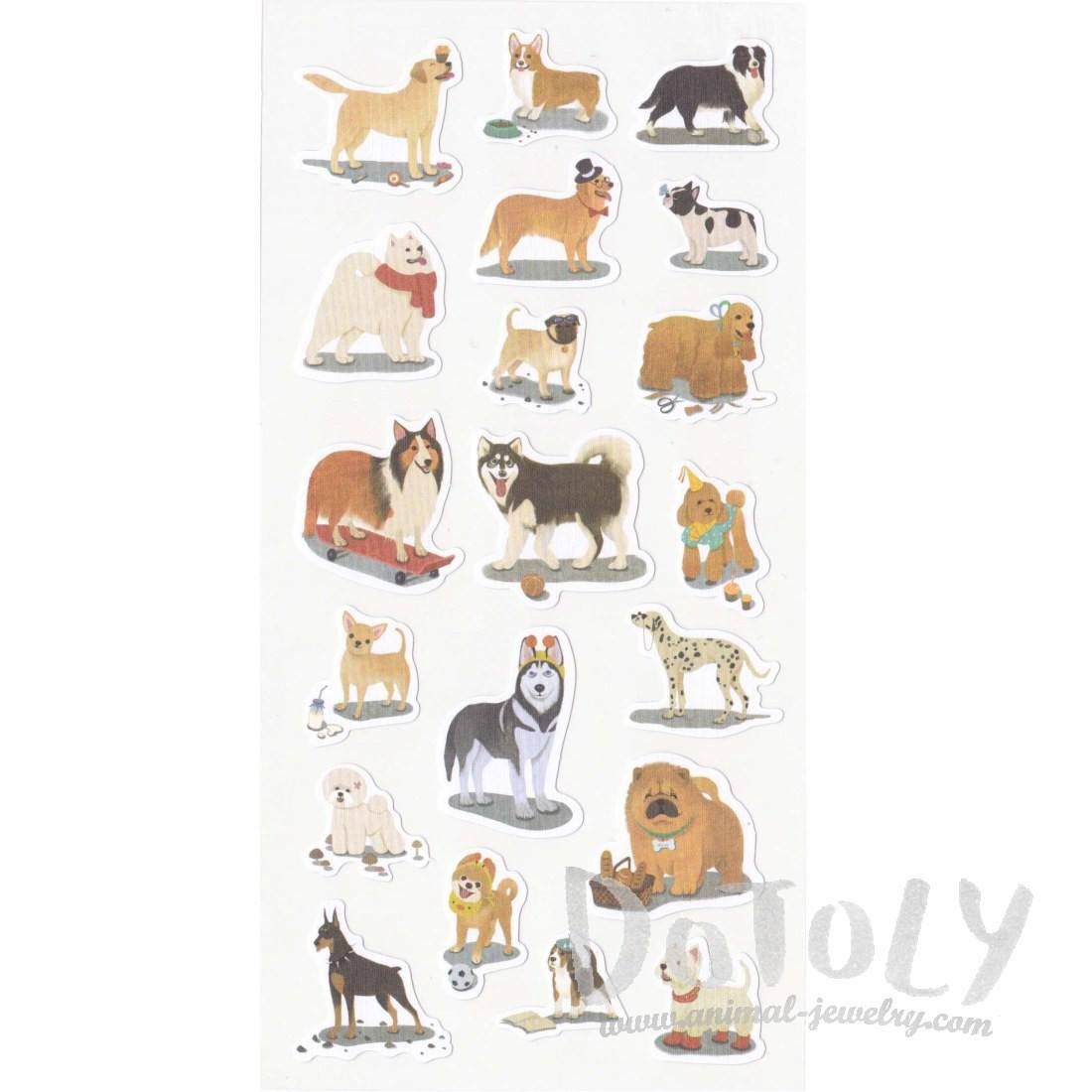Realistic Great Dane Husky Collie Pug Dog Breed Shaped Flat Stickers