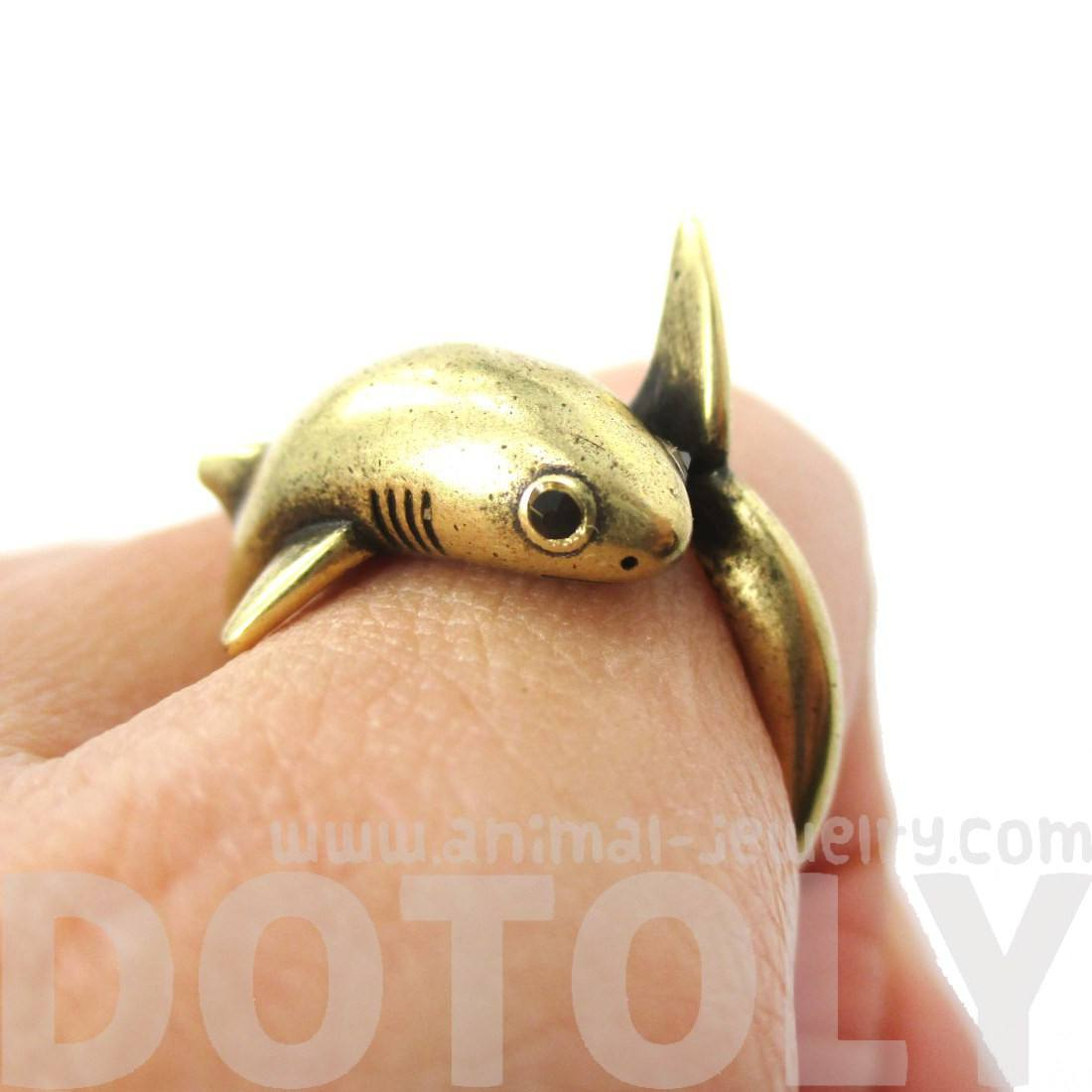 Realistic 3D Great White Shark Shaped Ring in Brass | Animal Jewelry