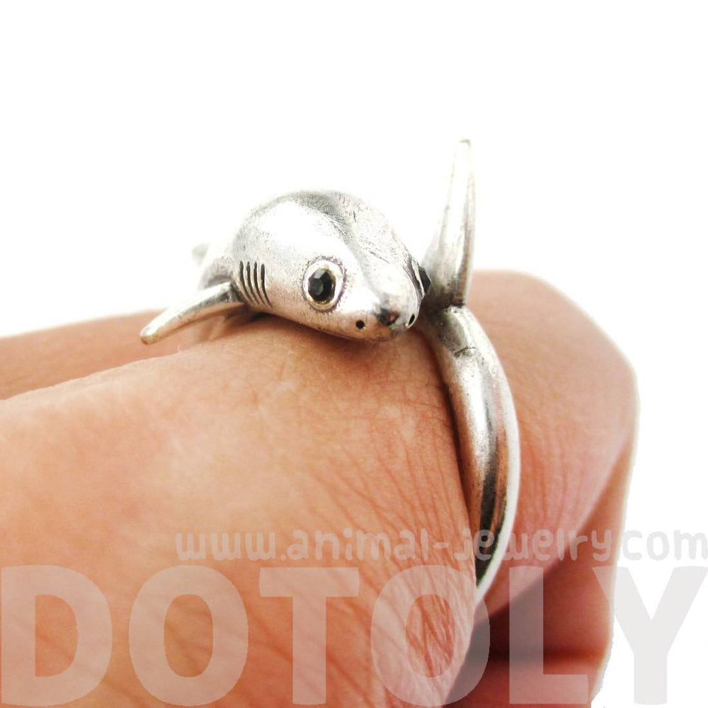 Realistic 3D Great White Shark Shaped Ring in Silver | Animal Jewelry