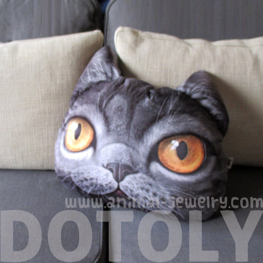 Realistic Grey Cat Face Shaped Animal Themed Cushion