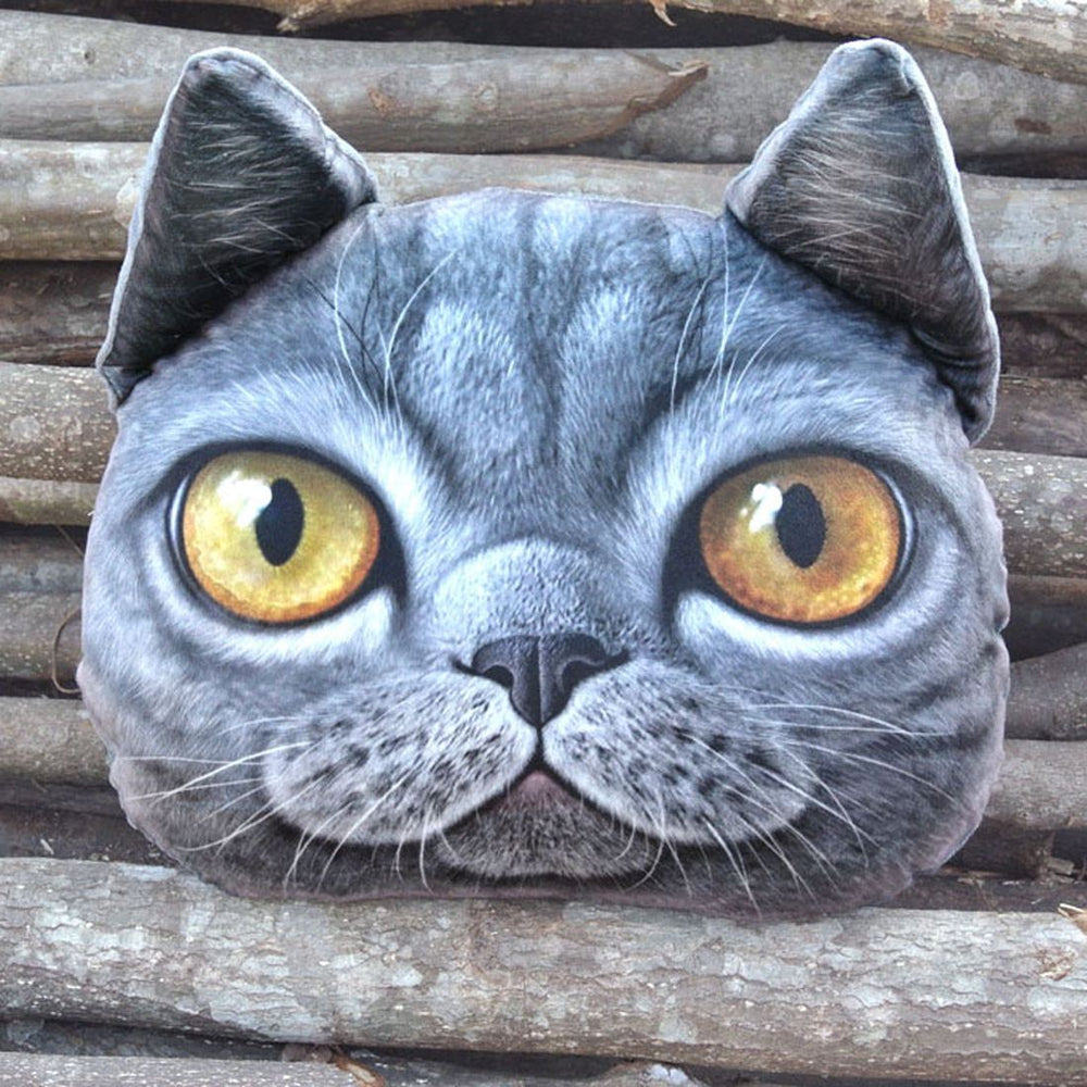 Realistic Grey Kitty Cat Face Shaped Animal Themed Large Cushion Pillow | DOTOLY
