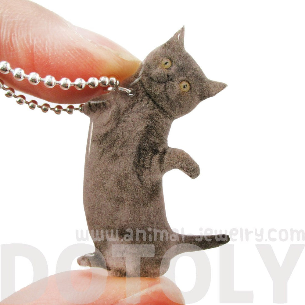 Realistic Grey Kitty Cat Stretching Hind Legs Shaped Pendant Necklace
