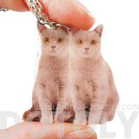 Realistic Grey Double Kitty Cats Animal Shaped Resin Pendant Necklace