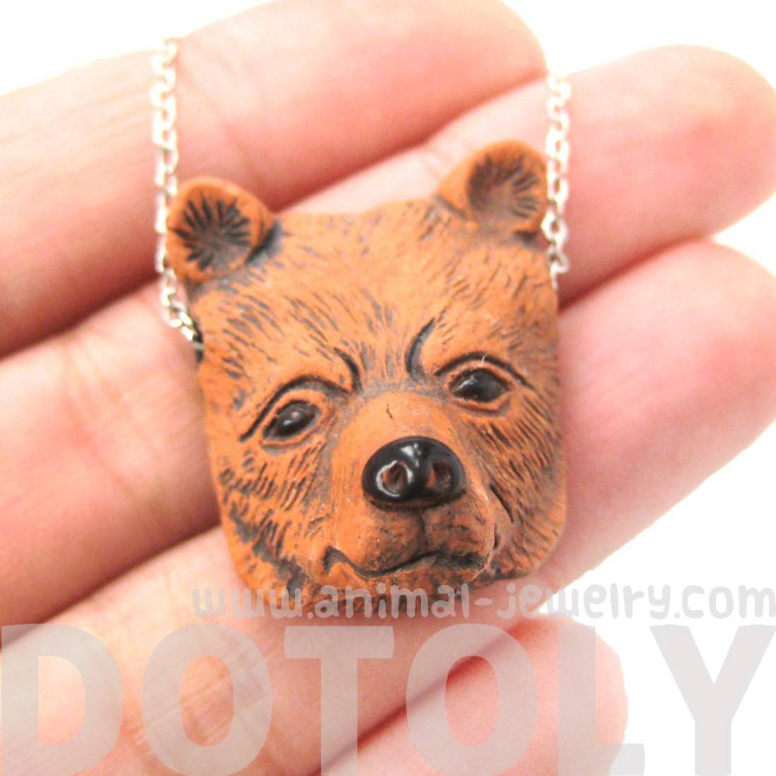 Realistic Grizzly Bear Head Shaped Porcelain Ceramic Pendant Necklace